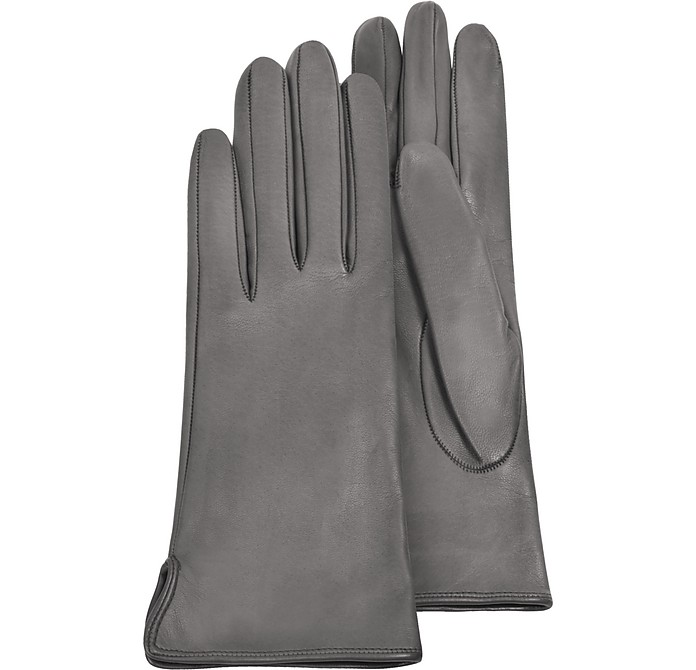 Women's Gray Calf Leather Gloves w/ Silk Lining - Forzieri