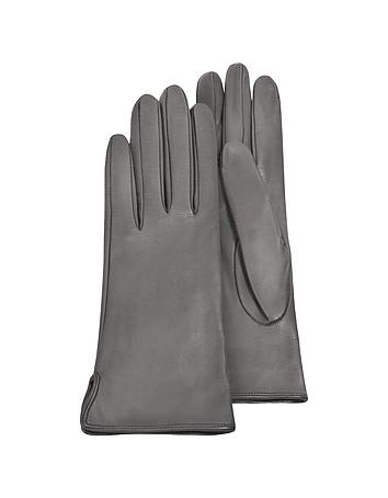 Forzieri - Women's Gray Calf Leather Gloves w/ Silk Lining