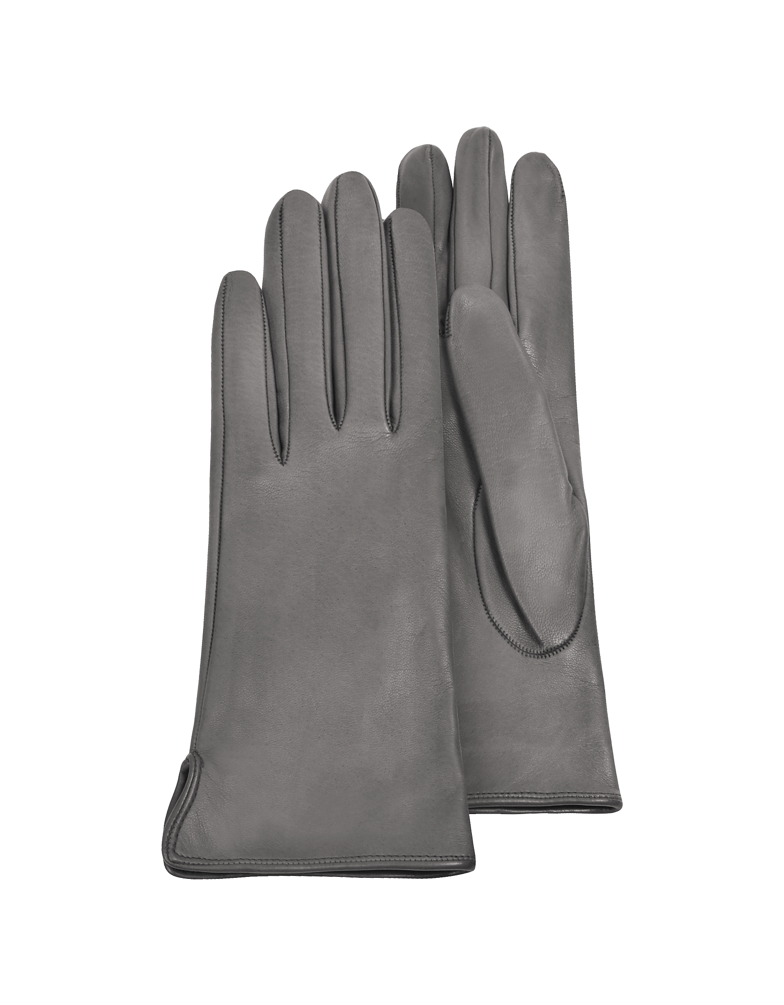 Forzieri Designer Women's Gloves, Women's Gray Calf Leather Gloves w/ Silk Lining