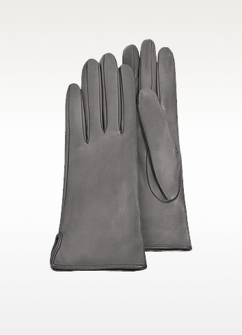Women's Gray Calf Leather Gloves w/ Silk Lining - Forzieri