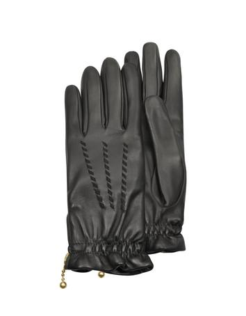 Lux-ID 209969 Women's Embroidered Black Calf Leather Gloves