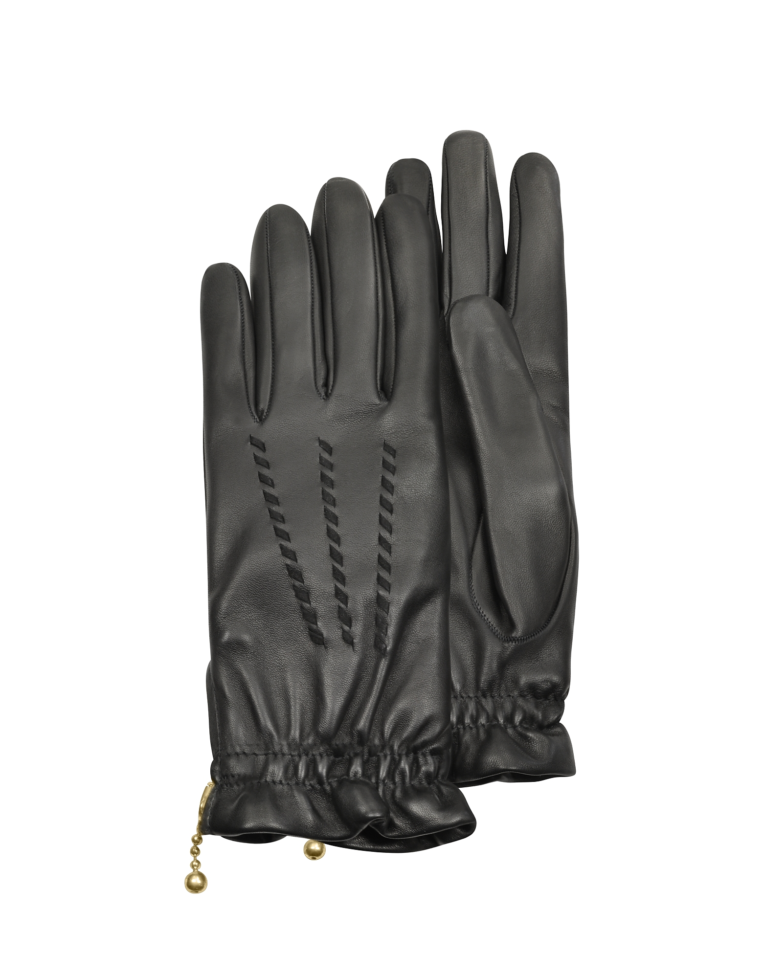 Forzieri Designer Women's Gloves, Women's Embroidered Black Calf Leather Gloves