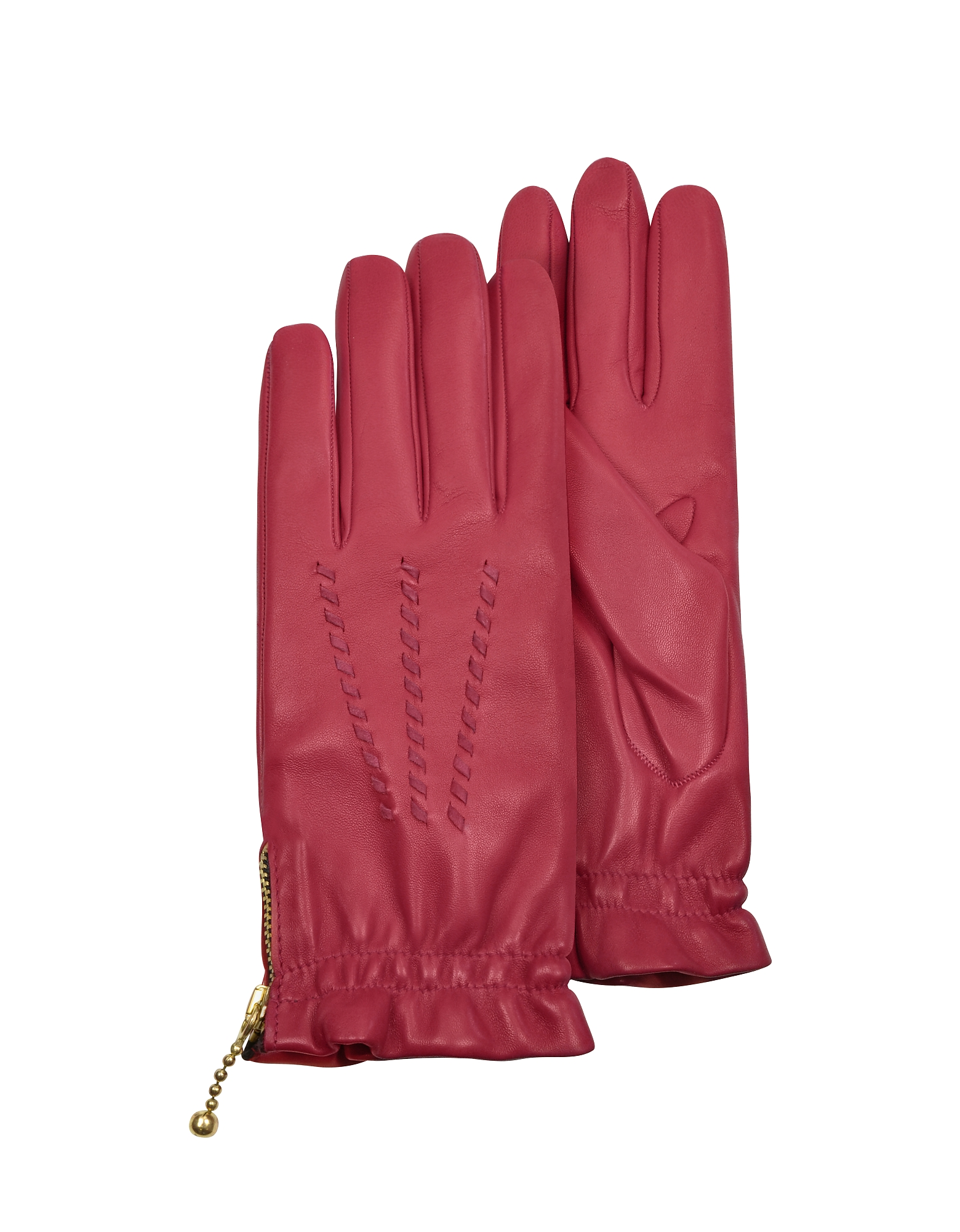 Forzieri Designer Women's Gloves, Women's Embroidered Red Calf Leather Gloves