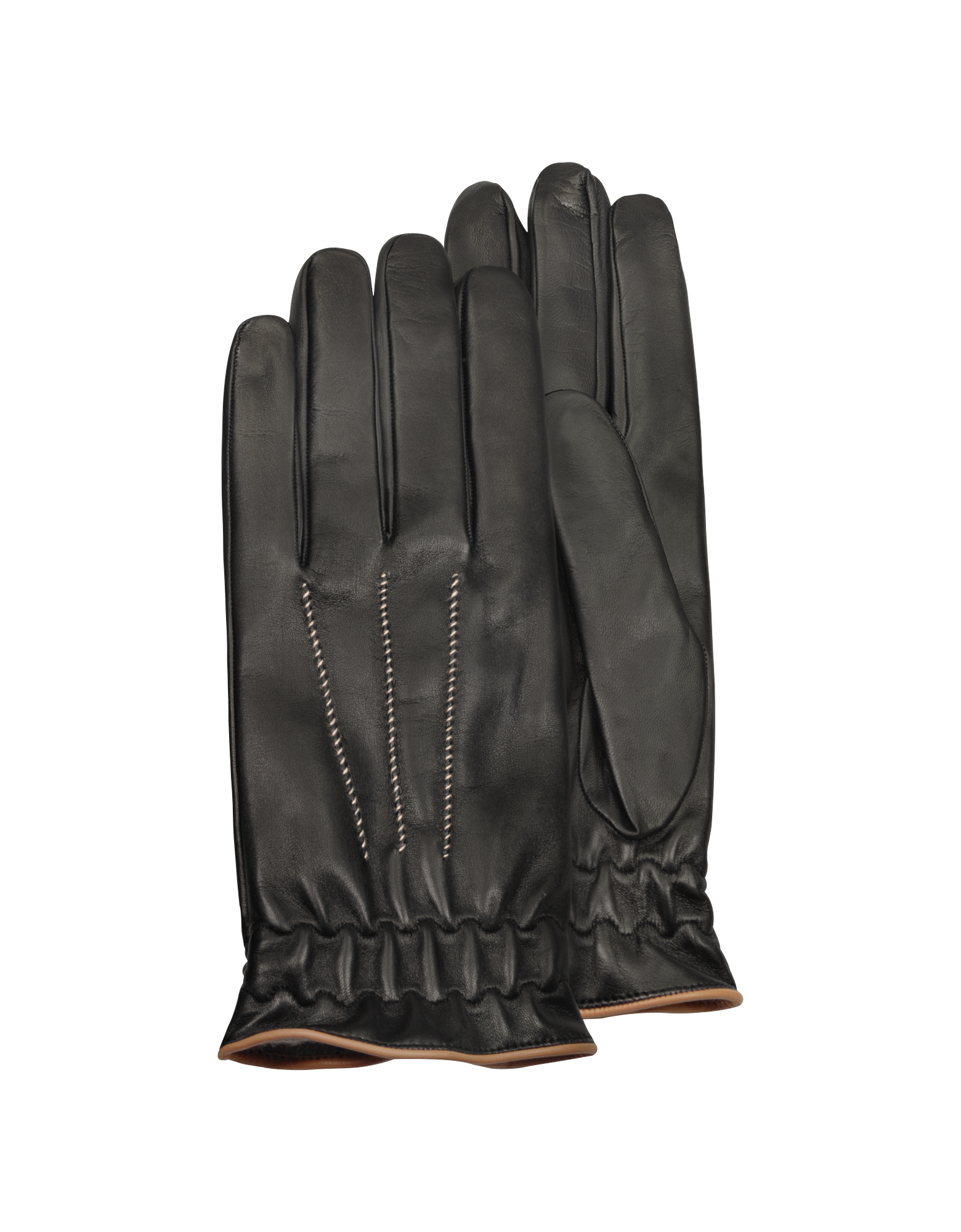 Image of Men's Black Cashmere Lined Calf Leather Gloves