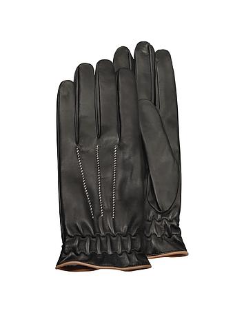 Men's Black Cashmere Lined Calf Leather Gloves