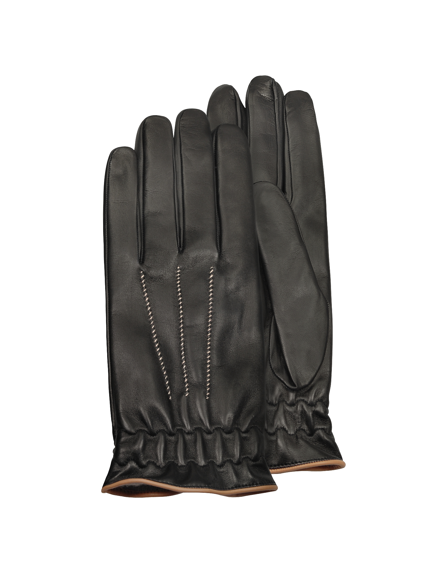 Forzieri Men's Gloves, Men's Black Cashmere Lined Calf Leather Gloves