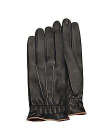 Herren-Handschuhe aus schwarzem Kaschmir und Kalbsleder - Forzieri