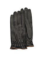Lux-ID 208600 Men's Black Cashmere Lined Calf Leather Gloves