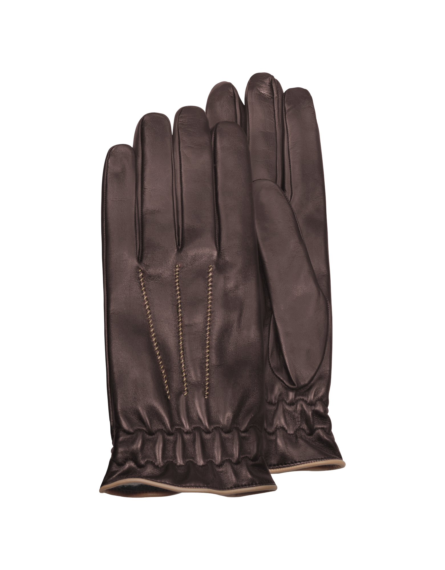 Image of Men's Brown Cashmere-Lined Calf Leather Gloves