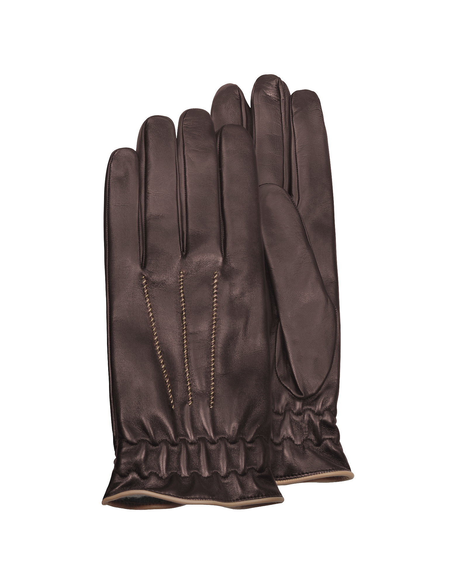 Forzieri Men's Gloves, Men's Brown Cashmere-Lined Calf Leather Gloves