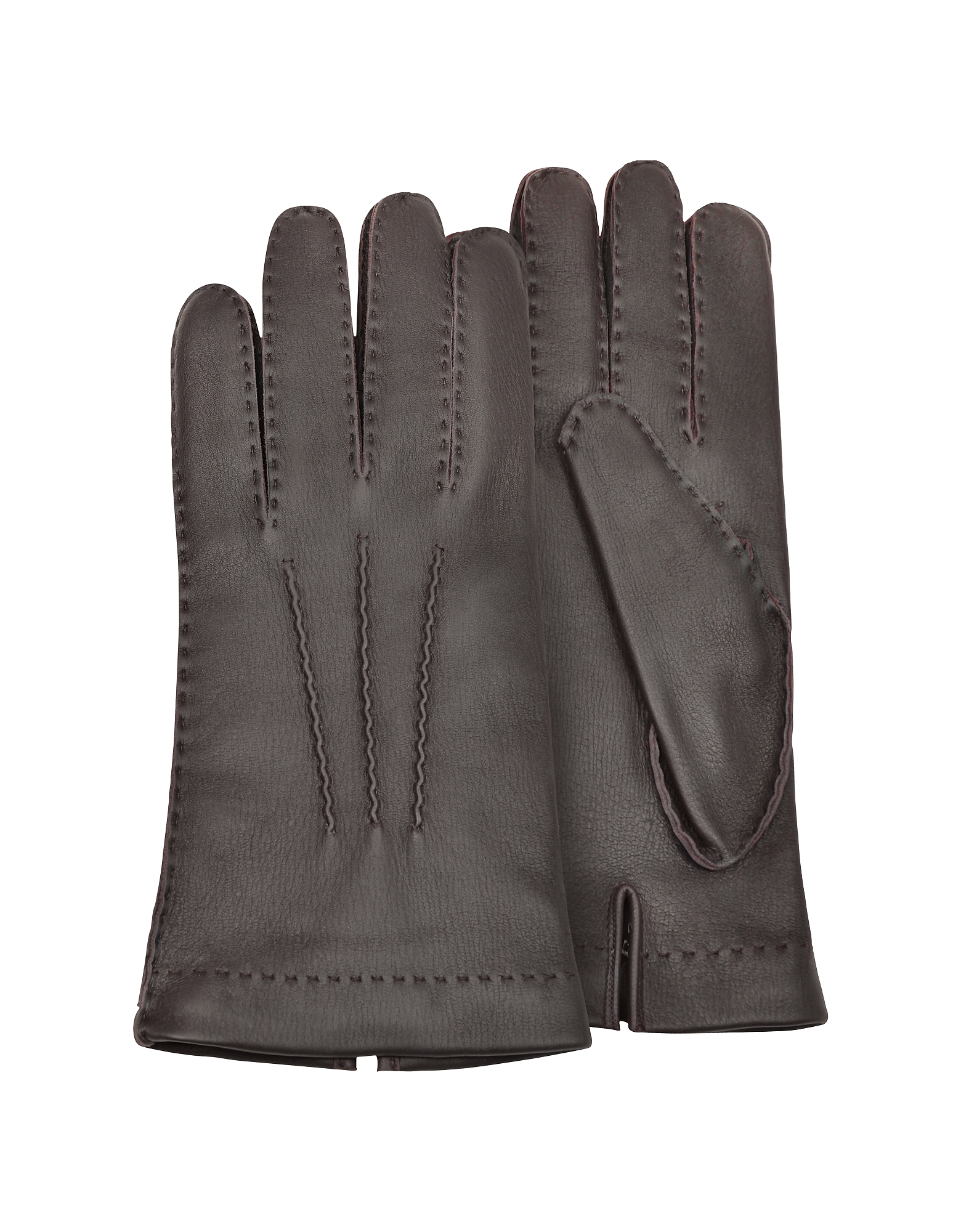 Forzieri Men's Gloves, Men's Cashmere Lined Brown Italian Deer Leather Gloves