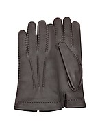 Lux-ID 208032 Men's Cashmere Lined Brown Italian Deer Leather Gloves