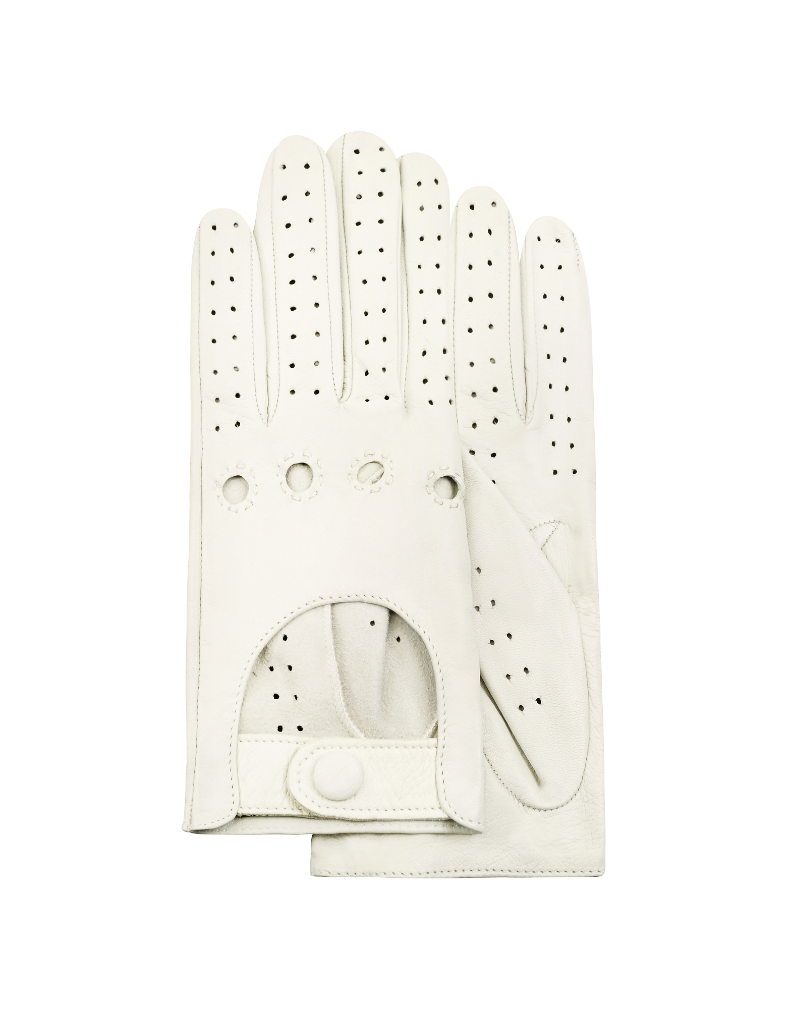 Forzieri Designer Women's Gloves, Women's Perforated Italian Leather Driving Gloves