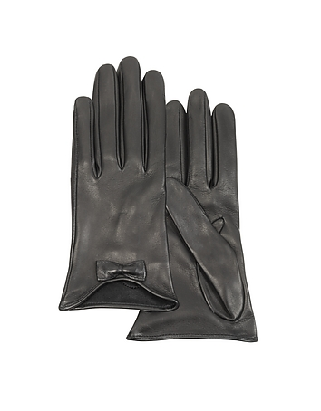 Vintage Style Gloves- Long, Wrist, Evening, Day, Leather, Lace Leather Gloves with Bow $95.00 AT vintagedancer.com