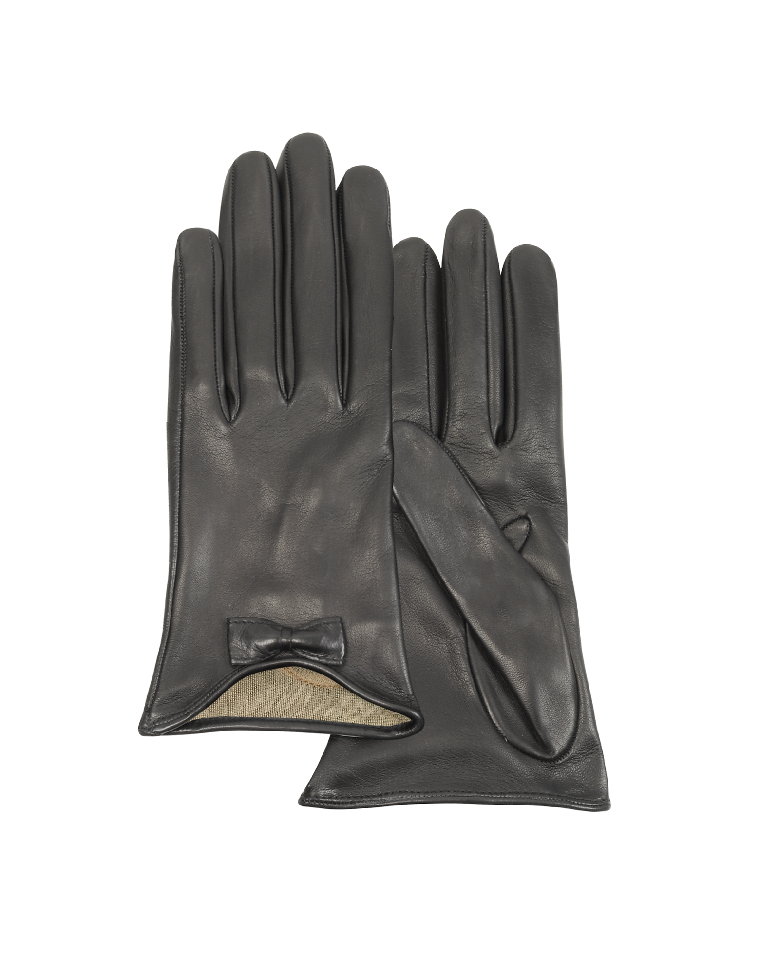 Forzieri Leather Gloves with Bow