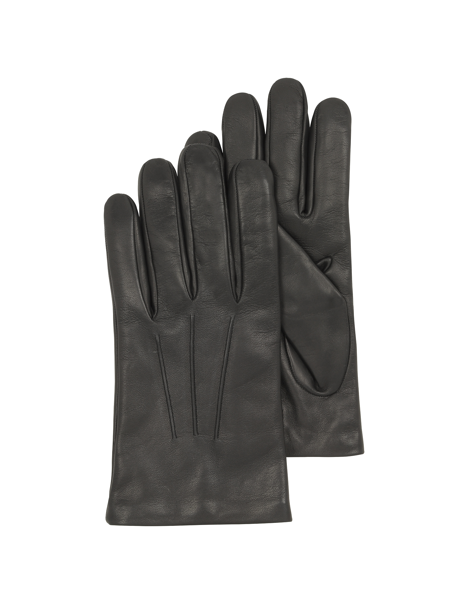 Forzieri Men's Gloves, Black Leather Handmade Men's Gloves w/Wool Lining