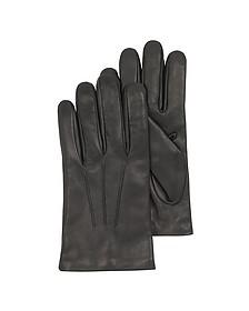 Herren-Handschuhe aus schwarzem Leder mit Wollfutter - Forzieri