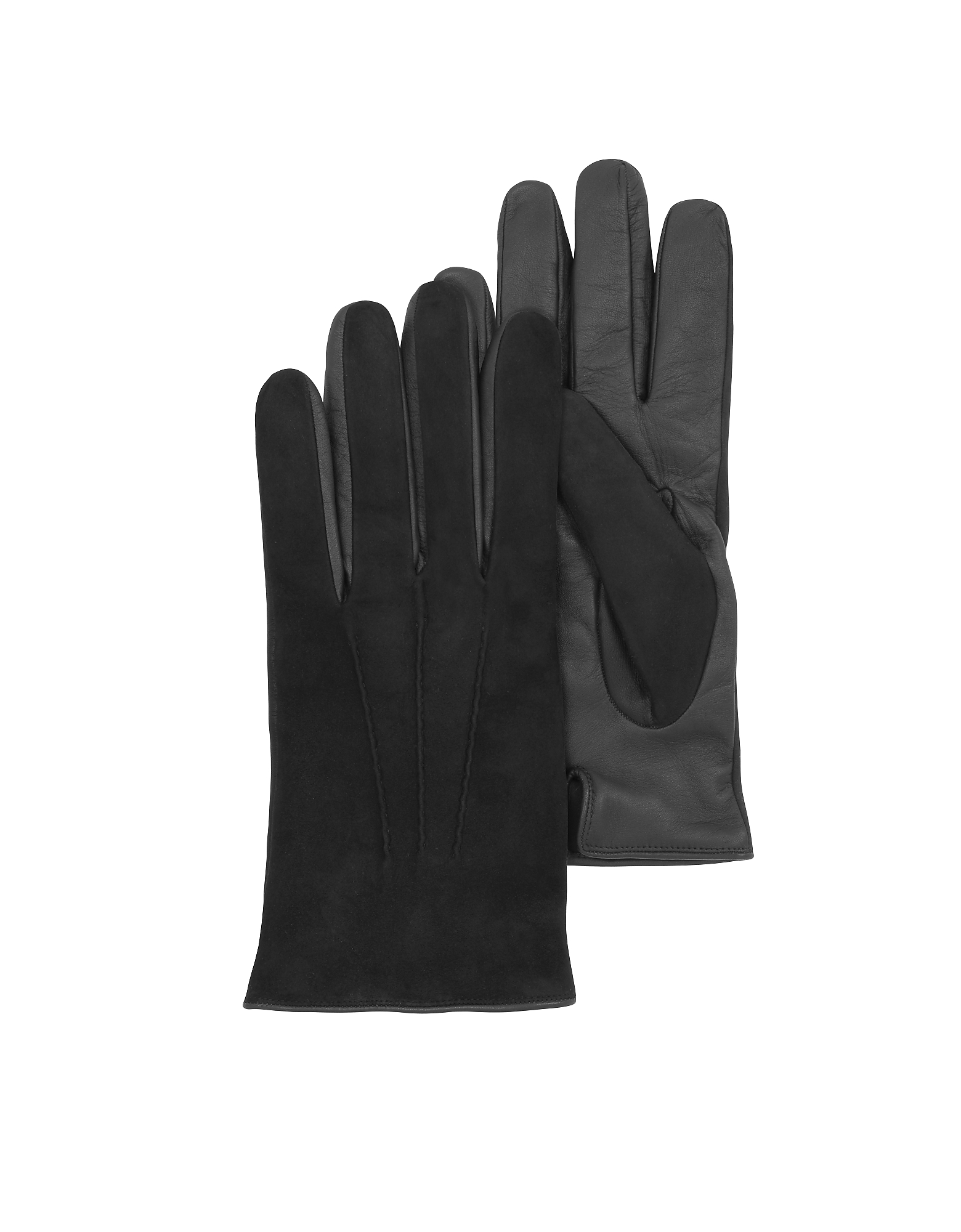Forzieri Men's Gloves, Black Touch Screen Leather Men's Gloves