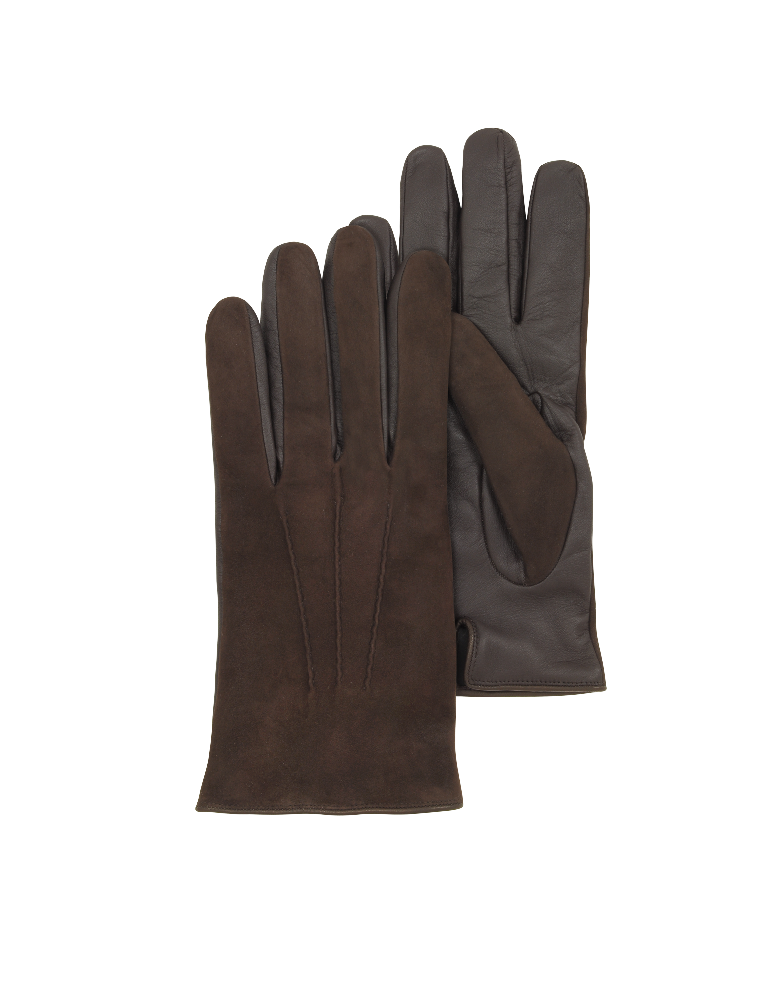 Image of Brown Touch Screen Leather Men's Gloves