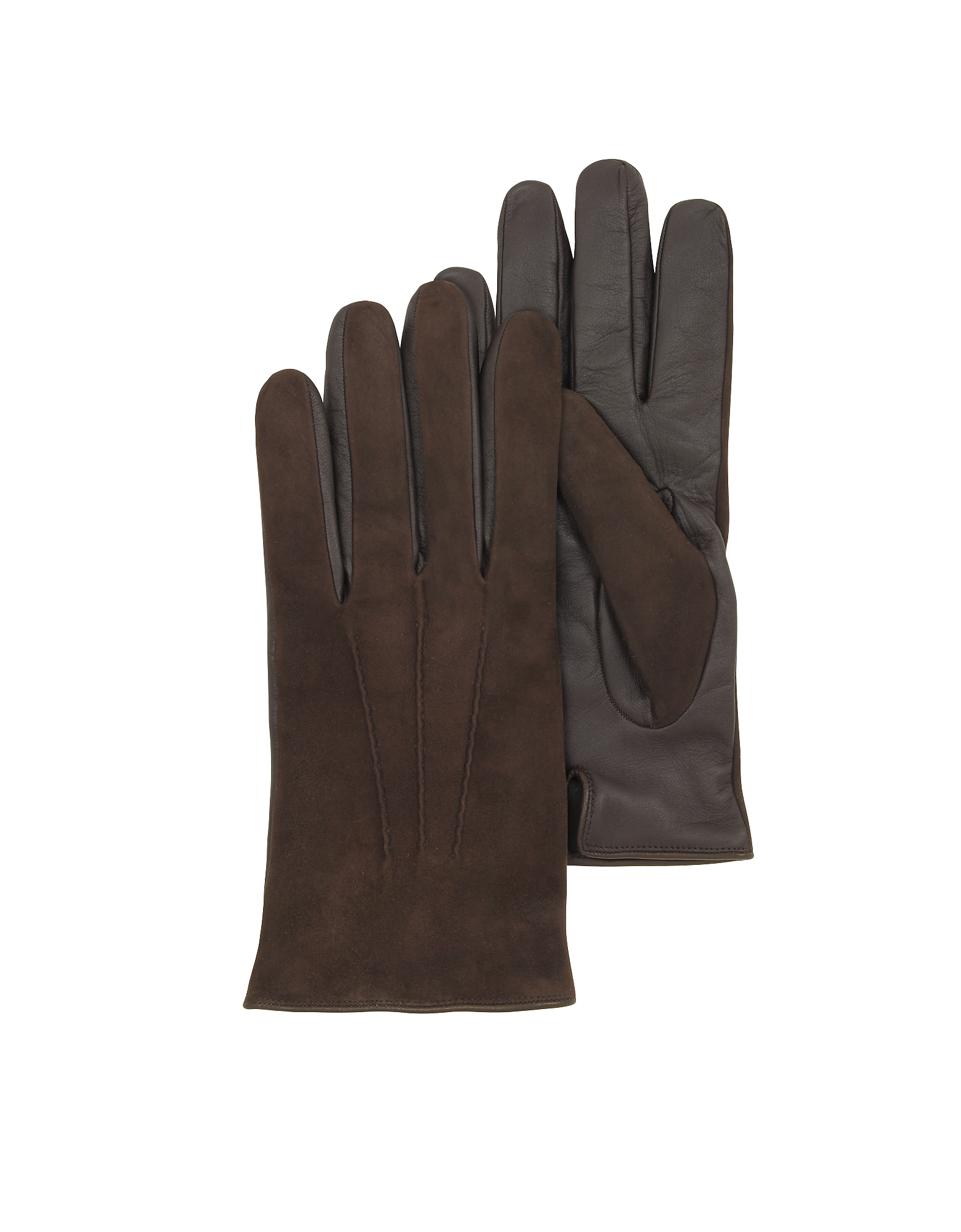 Forzieri Men's Gloves, Brown Touch Screen Leather Men's Gloves