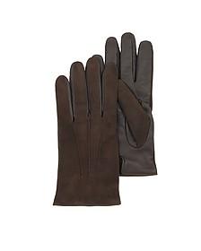 Touch Screen Herrenhandschuhe aus braunem Leder - Forzieri