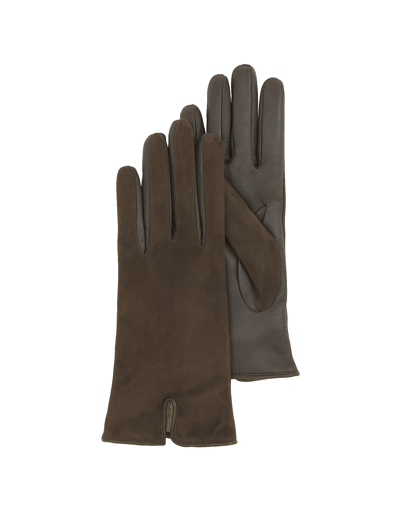 Forzieri Brown Touch Screen Leather Women's Gloves