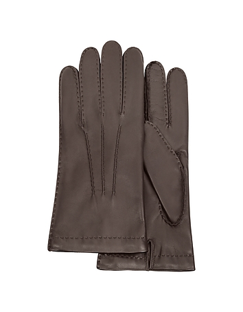 Forzieri - Men's Cashmere Lined Dark Brown Italian Leather Gloves