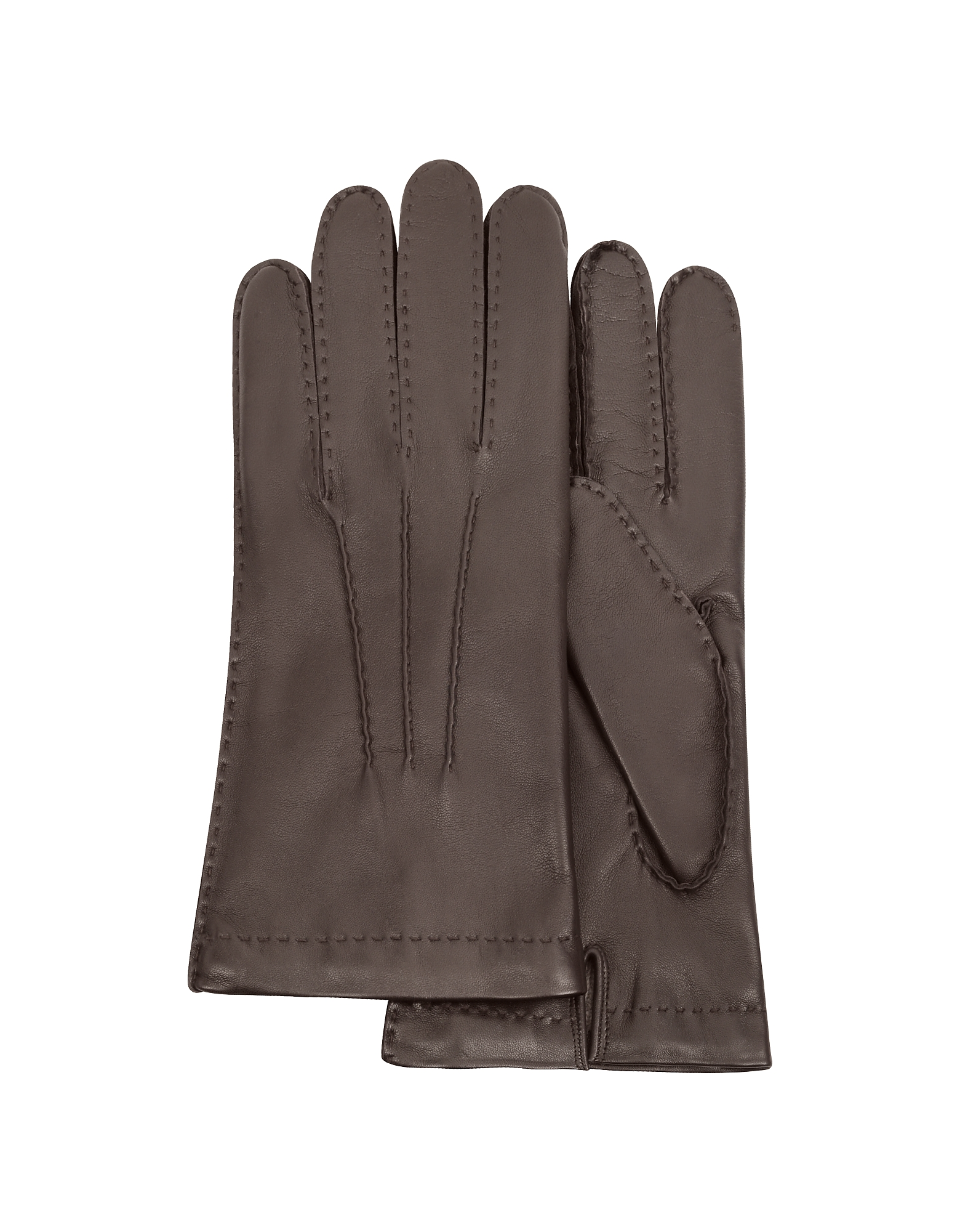Forzieri Men's Gloves, Men's Cashmere Lined Dark Brown Italian Leather Gloves