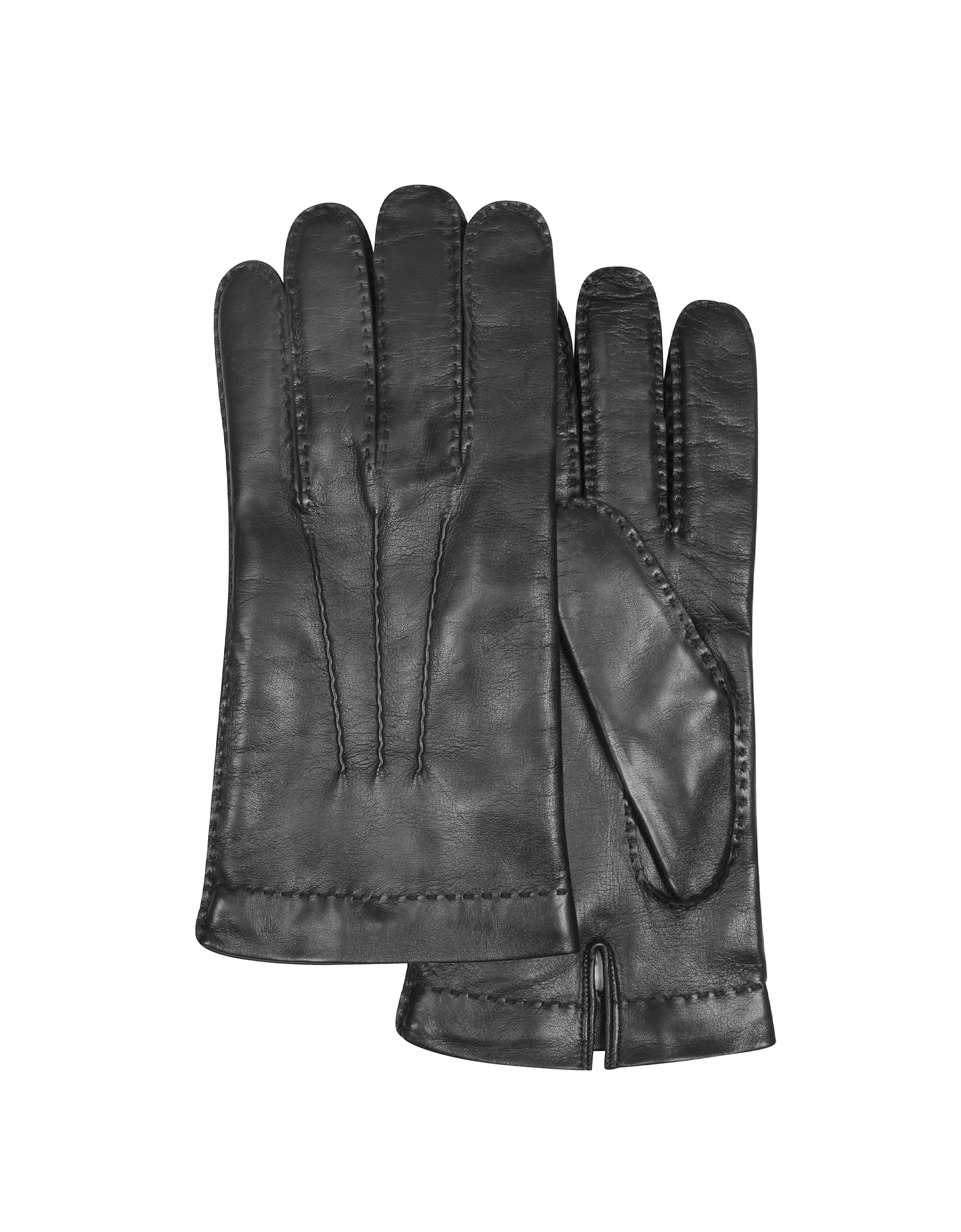 Forzieri Men's Gloves, Men's Cashmere Lined Black Italian Leather Gloves