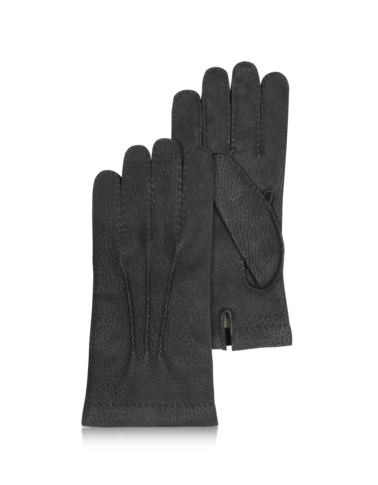 Image of Men's Cashmere Lined Black Italian Calf Leather Gloves