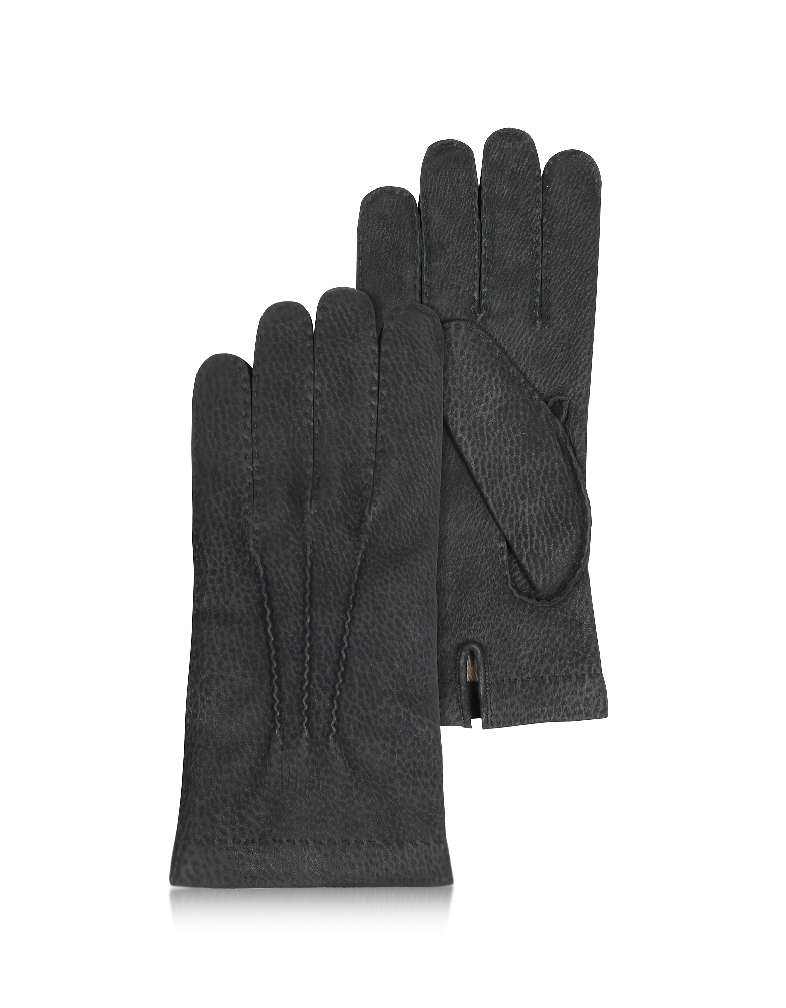 Forzieri Men's Gloves, Men's Cashmere Lined Black Italian Calf Leather Gloves