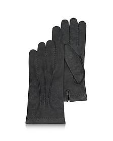 Schwarze Herrenhandschuhe aus italienischem Kalbsleder - Forzieri