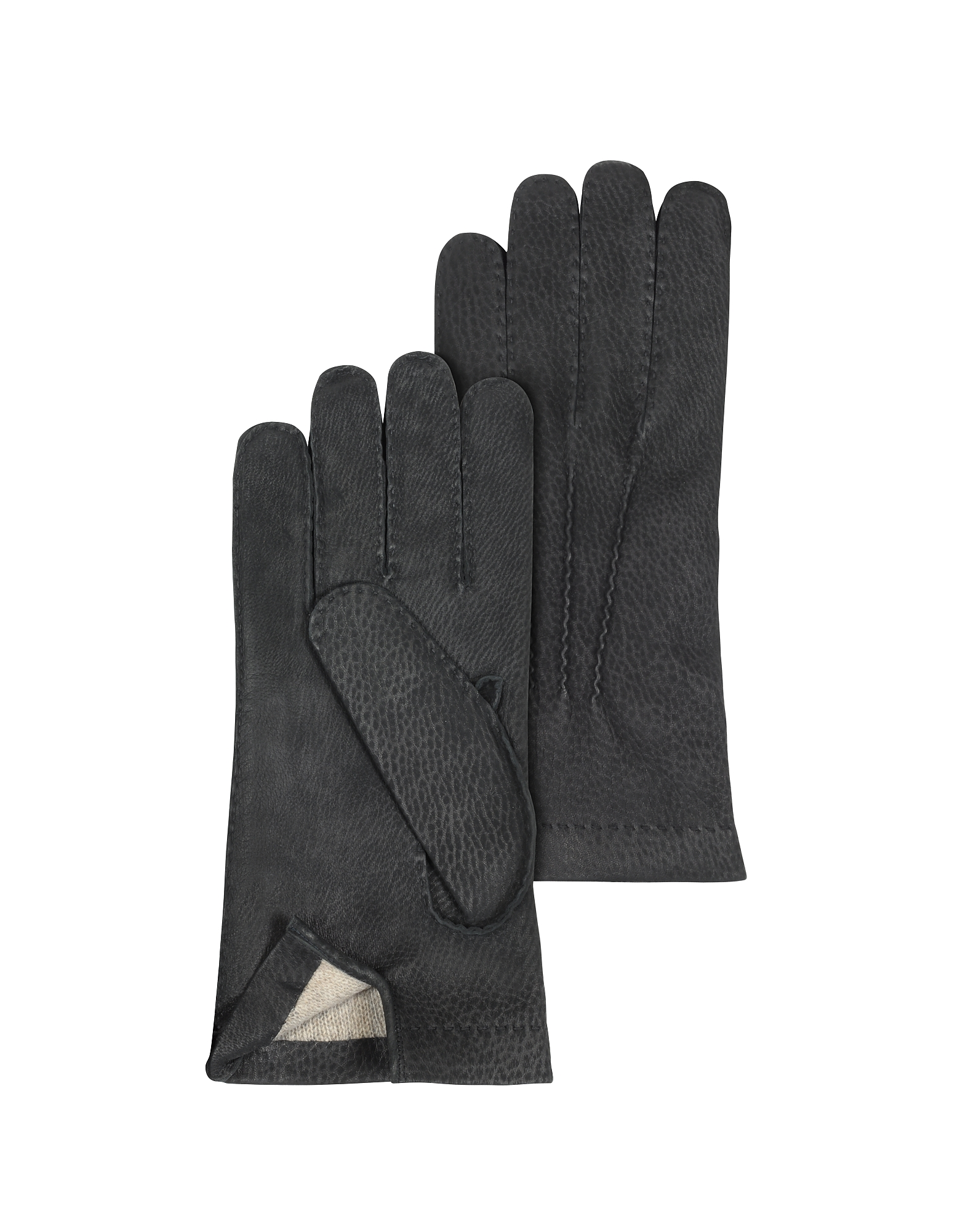 Men's Cashmere Lined Black Italian Calf Leather Gloves от Forzieri.com INT