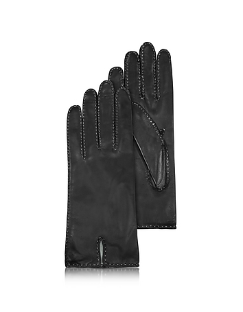Forzieri - Women's Stitched Silk Lined Black Italian Leather Gloves