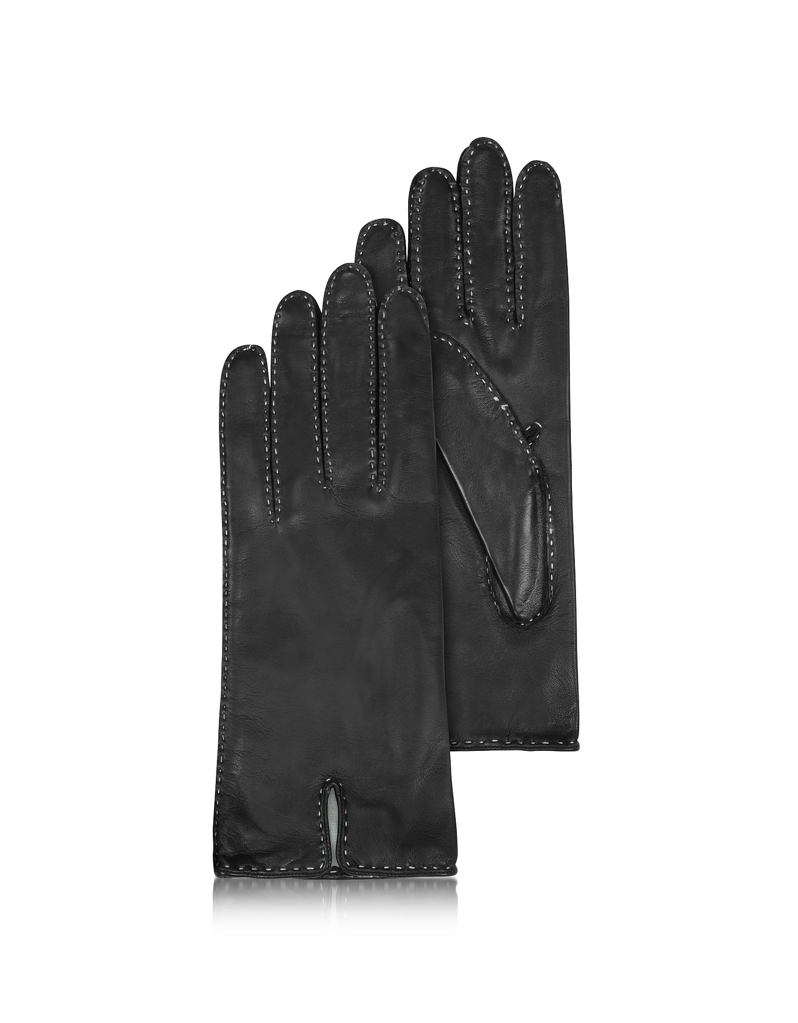 Forzieri Designer Women's Gloves, Women's Stitched Silk Lined Black Italian Leather Gloves