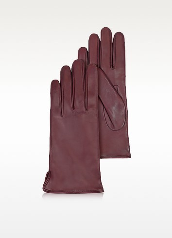 Women's Burgundy Cashmere Lined Italian Leather Gloves - Forzieri