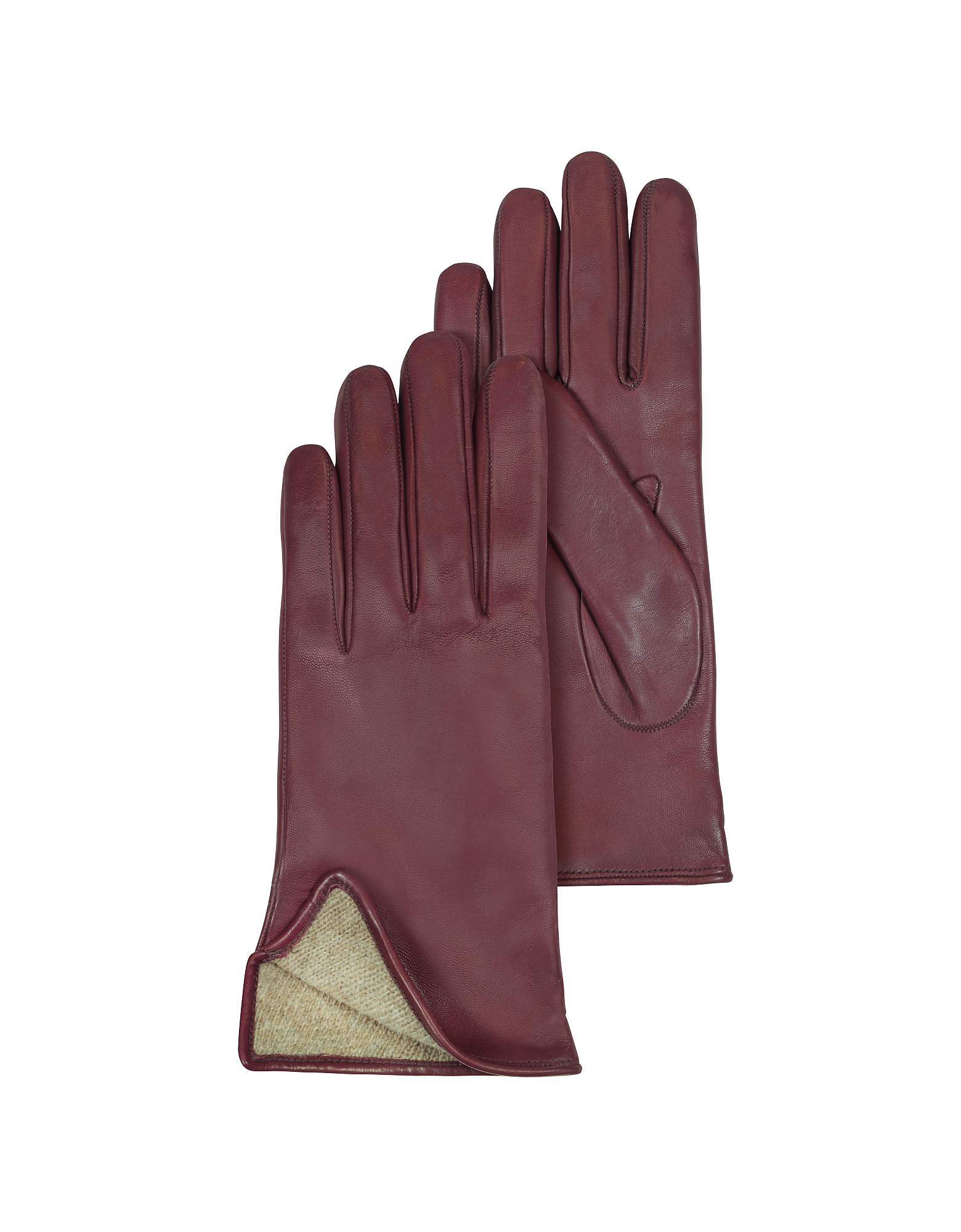 Women's Burgundy Cashmere Lined Italian Leather Gloves от Forzieri.com INT