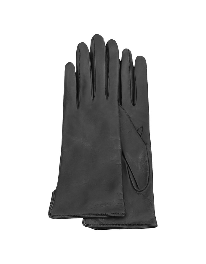 Women's Black Cashmere Lined Italian Leather Gloves - Forzieri