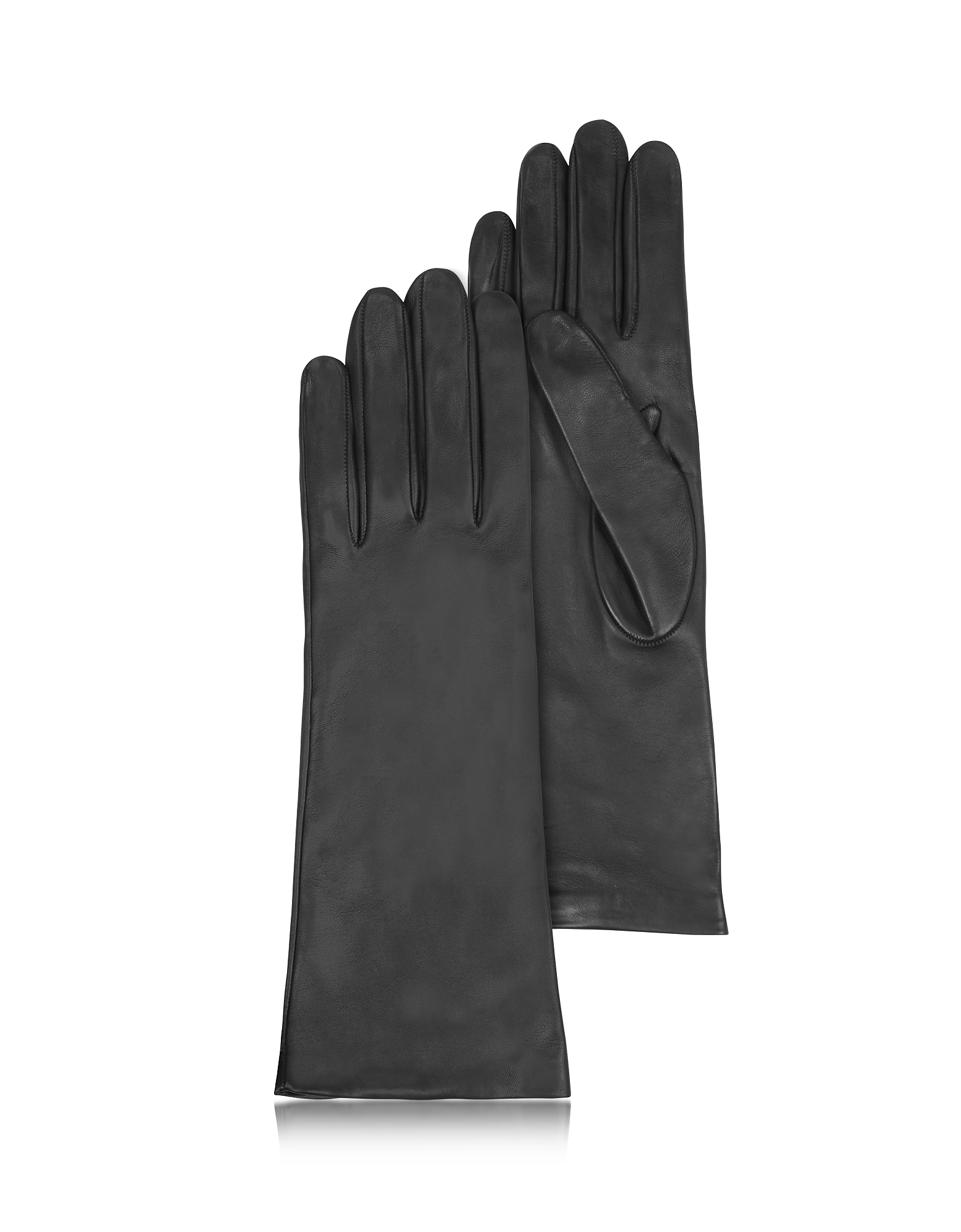 Forzieri Designer Women's Gloves, Women's Silk Lined Black Italian Leather Long Gloves