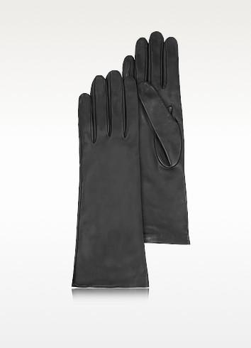 Women's Silk Lined Black Italian Leather Long Gloves - Forzieri