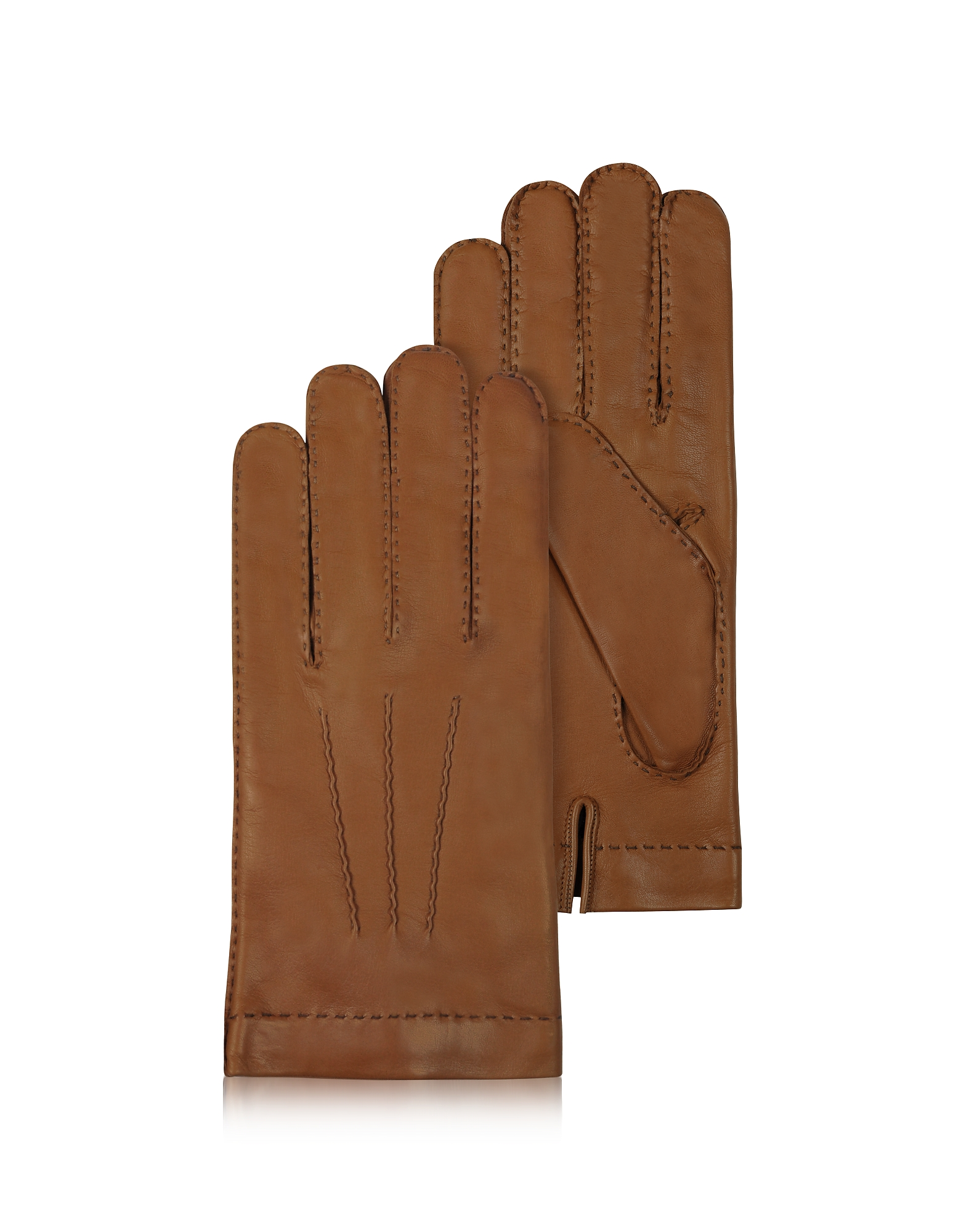 Forzieri Men's Gloves, Men's Cashmere Lined Brown Italian Leather Gloves
