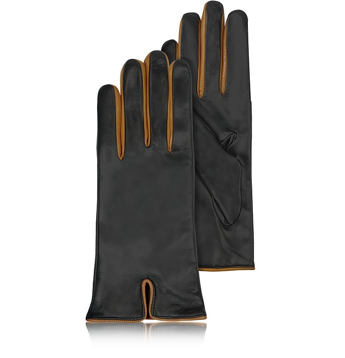 Black & Cognac Cashmere Lined Leather Ladies' Gloves  - Forzieri
