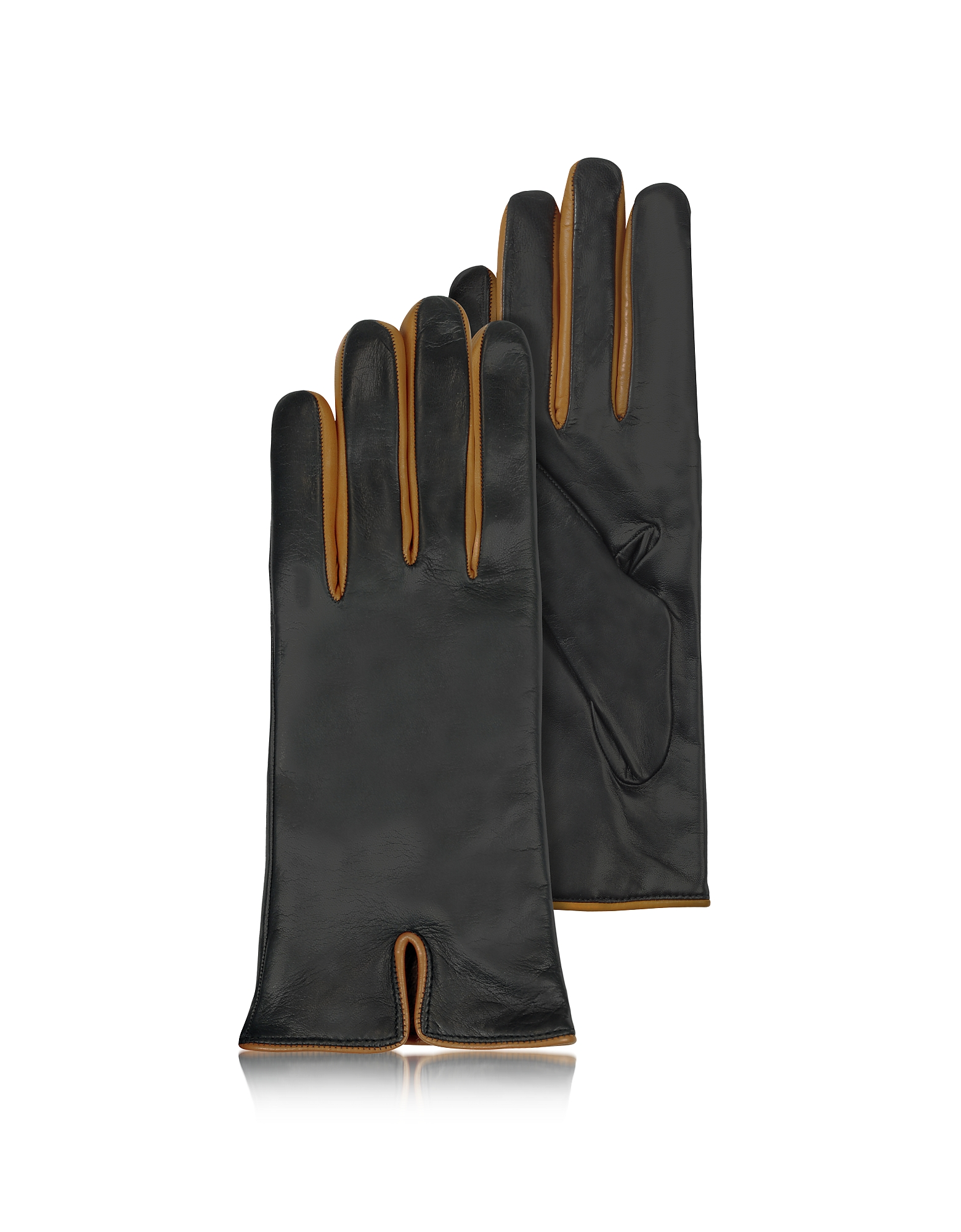 Forzieri Women's Gloves, Black & Cognac Cashmere Lined Leather Ladies' Gloves