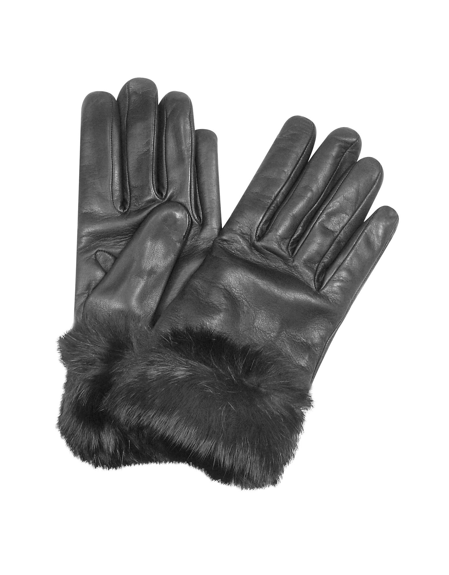 Forzieri Designer Women's Gloves, Black Cashmere Lined Italian Leather Gloves with Fur