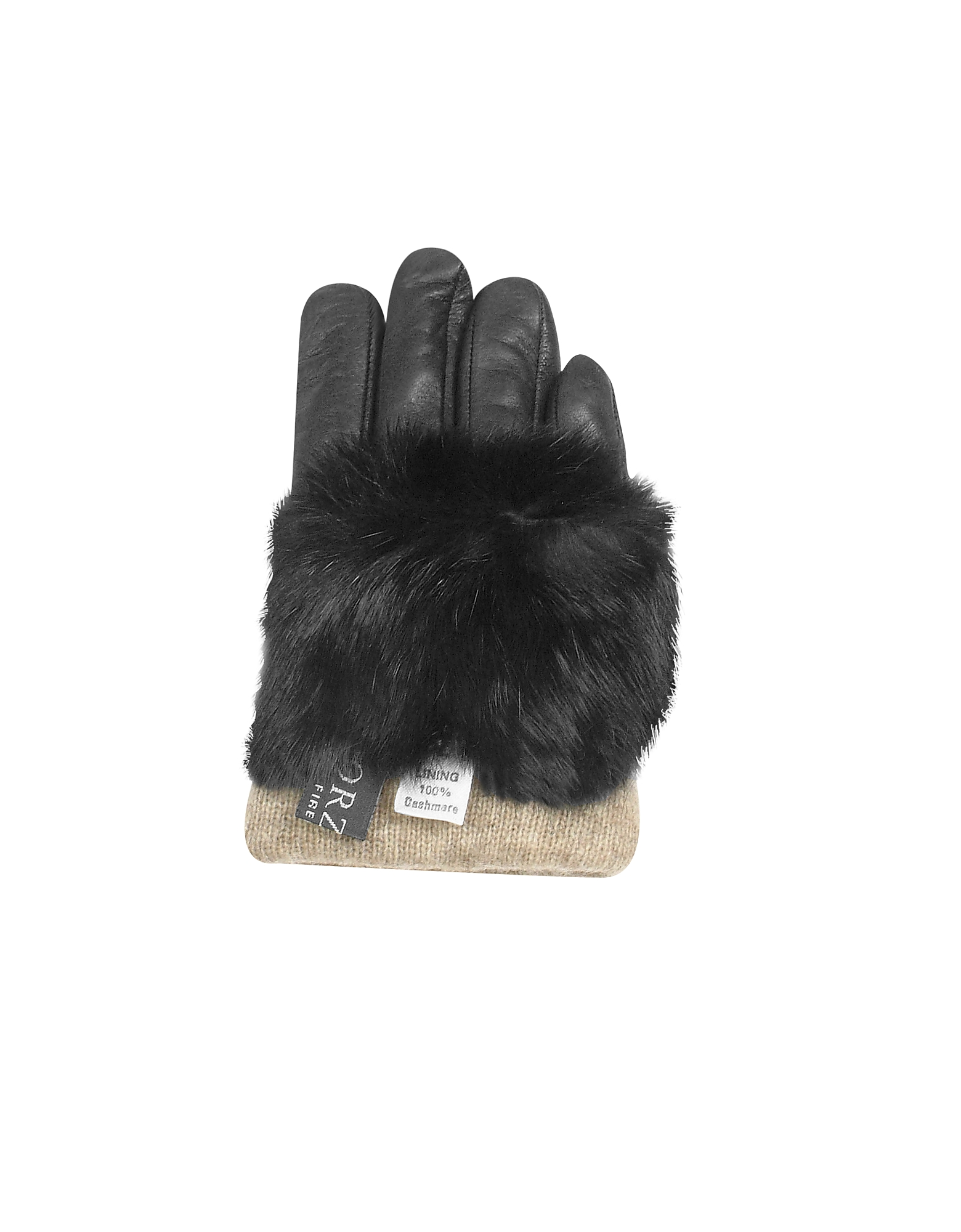 Black Cashmere Lined Italian Leather Gloves with Fur от Forzieri.com INT