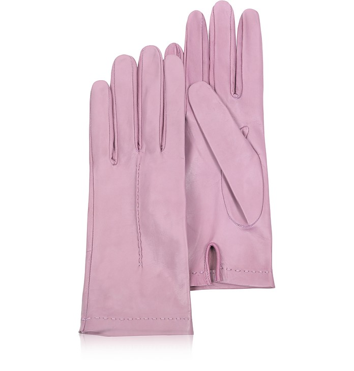 Women's Candy Pink Unlined Italian Leather Gloves - Forzieri