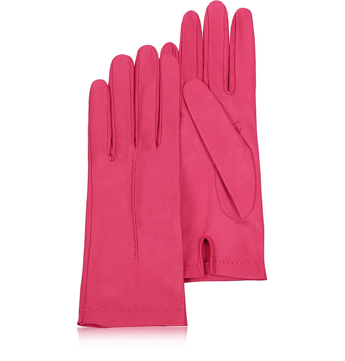 Women's Hot Pink Unlined Italian Leather Gloves - Forzieri