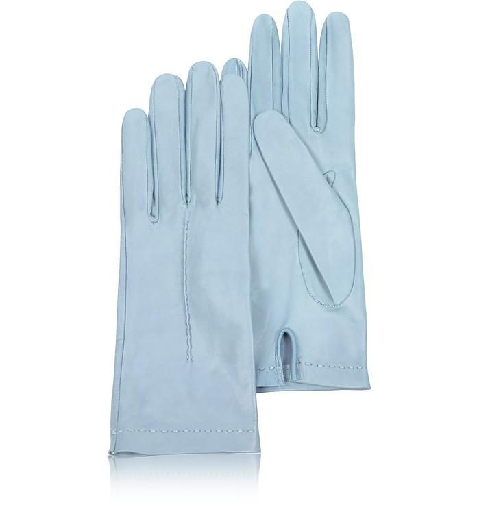 Women's Sky Blue Unlined Italian Leather Gloves - Forzieri