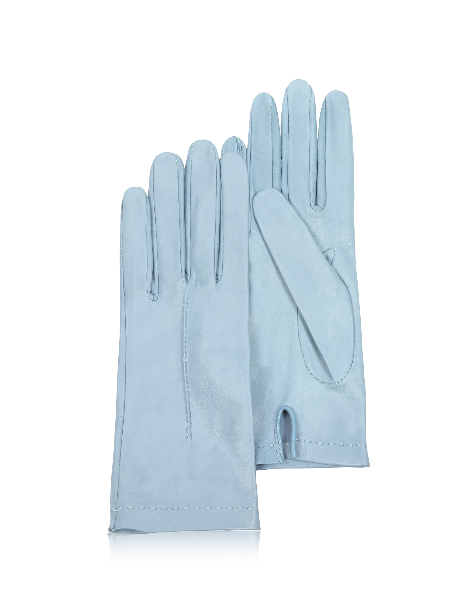 Forzieri Women's Gloves, Women's Sky Blue Unlined Italian Leather Gloves