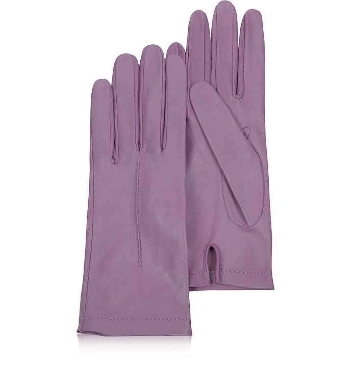 Women's Purple Unlined Italian Leather Gloves - Forzieri